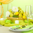 Beautiful holiday table setting with apples, close up — Stock Photo #18293371