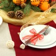 Beautiful christmas table setting with tangerines and fir tree, close up — Foto de Stock