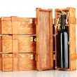 Wooden boxes for wine isolated on white — Stock Photo