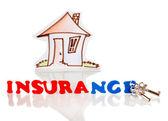 Concept van home verzekeringen geïsoleerd op wit — Stockfoto