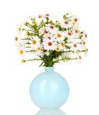 Bellissimo bouquet di fiori bianchi in vaso isolato su bianco — Foto Stock