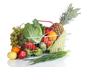 Fresh vegetables and fruits in metal basket isolated on white — Stock Photo