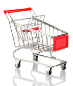 Empty shopping trolley, isolated on white — Stock Photo