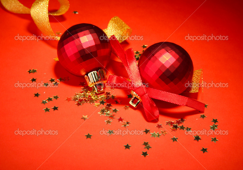 Beautiful bright Christmas balls on red background  Stock Photo #18292603