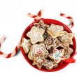 Christmas treats on plate isolated on white — Stock Photo #18307599