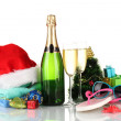 Beach accessories champagne and Christmas tree isolated on white — Stock Photo #18307653
