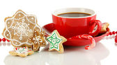 Christmas treats with cup of coffe isolated on white — Stock Photo