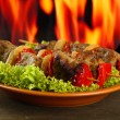 Tasty grilled meat and vegetables on plate, on fire background — Stock Photo #18319891