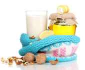 Healthy ingredients for strengthening immunity isolated on white — Stock Photo