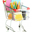 Stock Photo: Trolley with school equipment isolated on white