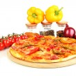 Tasty pepperoni pizza with vegetables on wooden board isolated on white — Stock Photo #18345853