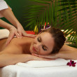 Beautiful woman in spa salon with stones getting massage, on green background — Stok fotoğraf