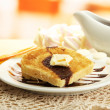 White bread toast with chocolate on plate in cafe — Stock Photo