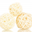 Wicker bamboo balls isolated on white - Stok fotoğraf