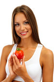 Beautiful young woman with tomato, isolated on white — Stock Photo