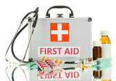 First aid box, isolated on white — Zdjęcie stockowe