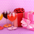 Colorful cocktails with bright decor for glasses on purple background with polka dots — Stock Photo #18402393