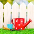 Gardening tools on green grass on wooden fence background — Lizenzfreies Foto