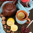 Stock Photo: Helpful tewith jam for immunity on wooden table close-up