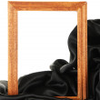 Empty frame with silk, isolated on white - Stok fotoğraf