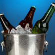 Stock Photo: Beer bottles in ice bucket on darck blue background