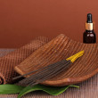 Aromatherapy setting on brown background — Stock Photo #18426193