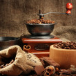 Coffee grinder, turk and cup of coffee on burlap background - Stock fotografie