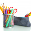 Pencil box with school equipment isolated on white — 图库照片