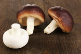 Fresh mushrooms on wooden table close-up — Stock Photo