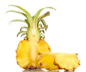 Sliced ripe pineapple isolated on white — Stock Photo