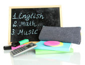 Pencil box with school equipment and timetable isolated on white — Zdjęcie stockowe