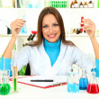 Young scientist in  laboratory - Stockfoto