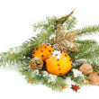 Christmas composition with oranges and fir tree, isolated on white — Stock Photo #18570979