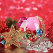 Christmas decoration on red background — Stock Photo #18571191