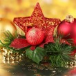 Christmas decoration on red background — Stock Photo #18571289