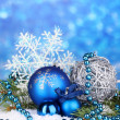 Christmas decoration on blue background — Stock Photo #18571701