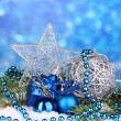 Royalty-Free Stock Photo: Christmas decoration on blue background