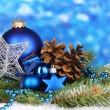 Christmas decoration on blue background — Stock Photo