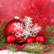 Christmas decoration on red background — Stock Photo #18571725