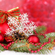 Christmas decoration on red background — Foto de Stock
