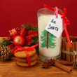 Cookies for Santa: Conceptual image of ginger cookies, milk and christmas decoration on red background — Stock Photo #18571773