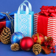 New Year composition of New Year's decor and gifts on blue background — 图库照片