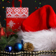 New Year composition of New Year's decor and gifts on Christmas lights background — 图库照片