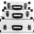 Stock Photo: Silvery suitcases isolated on white