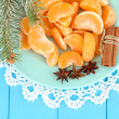 Tasty mandarine's slices on color plate on blue background - Zdjęcie stockowe