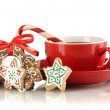 Christmas treats with cup of coffe isolated on white — Stock Photo #18575755