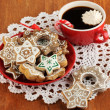 Royalty-Free Stock Photo: Christmas treats on plate and cup of coffe on wooden table close-up