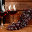 Composition of wine,box and grapes on bright background — Stock Photo