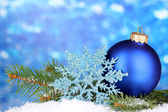 Christmas decoration on blue background — Stock Photo