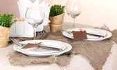 Rustic table setting — Stock Photo